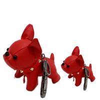 lindos llaveros para niñas al por mayor-Niños juguete grande cuero animal llavero bulldog encanto bolsa colgante llavero lindo perro niña niño regalo mujeres llaveros