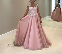 Wholesale dusty rose sexy - Dusty Rose Pink Prom Dresses 2018 Long Lace Appliques A Line Chiffon V Neck Capped Sleeves Floor Length Elegant Formal Evening Gowns