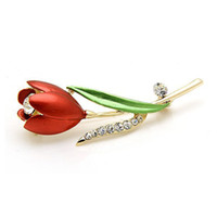 accesorios para tulipanes al por mayor-Rhinestone Broche de tulipán Dripping Flower Brooch Accessories (Rojo)