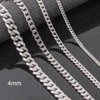 collier inox 4mm achat en gros de-Nouveau design en acier inoxydable collier de concepteur chaud Mens colliers bijoux de mode titane chaîne collier mens cadeau, longueur de 4mm