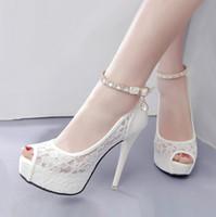 ingrosso tacco della piattaforma della cinghia della caviglia bianca-Scarpe da sposa in pizzo bianco Scarpe con tacchi alti Scarpe con plateau e cinturino alla caviglia Scarpe tacco alto 2018 Taglia 34 alla 39