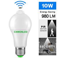 b22 toptan satış-Aydınlatma ampul b22 e27 pir motion sensörü alüminyum tasarım led gece lambası balkon koridor yolu için 10 w 85-265 v lamba bahçe
