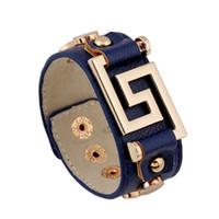 pulseiras de silicone preto venda por atacado-Nova Moda Delicadeza Liga Letra S Rebites Pulseira De Couro Preto Azul Pulseira De Couro Do Punk com Snap Fastener Jóias Presentes Atacado