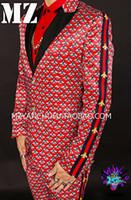 roupa de cantor de desempenho venda por atacado-Listrado de lantejoulas dos homens slim paletó masculino cantor desempenho roupas masculinas personalidade boate boate terno masculino bar roupas