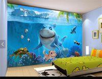 Wholesale Photography Modern - Home Decor Wallpaper paper photography underwater world of cartoon shark Restaurant Kindergarten children's room 3d wall mural wallpaper
