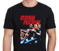 мультфильм оптовых-Easy Rider Vintage Movie американский байкер мужская футболка одежда хлопок футболка мода Бесплатная доставка письмо топ tee