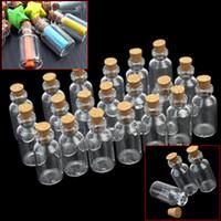 botellas viales de corcho al por mayor-20pcs Mini Clear Transparente que deseen el envase de la botella botellas de cristal vacías tarros de 5ml frascos con Cork Pequeños mensajes Corked pequeños
