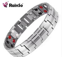 bio plata al por mayor-Rainso Joyería de moda Curación FIR Magnetic Titanium Bio Energy Pulsera Para Hombres Accesorios de presión arterial Pulseras de plata