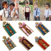 tirantes pajarita set niños al por mayor-Nuevo estilo Cute Kids Baby Boys Boda Tirantes a juego Tirantes y Conjunto de corbata de lazo de lujo Envío de la gota
