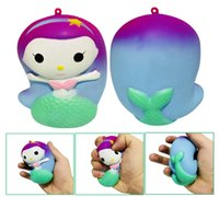 Wholesale wholesale mermaid toy online - Cute Squishy Angel Mermaid Slow Rising Scented Soft Squishies Phone Strap Squeeze Anti stress Toy Gift DDA257