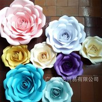 Wholesale white color windows online - Thickening Cardboard Paper Flower Wedding Ceremony Decoration Rose D Display Window Manual Flowers Party Supplies Pure Color zy3 bb