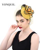 örtü klipsleri toptan satış-Zarif bayan parti fascinator şapka saç klipleri gelin düğün veils fascinator bandı headdress chic çay kraliyet yarış klipleri şapkalar SYF386
