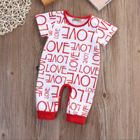 Wholesale toddler boys halloween shirts - Baby Ins Love Letter Suit Kids Toddler Infant Casual Short Sleeve T-shirt and Trousers Outfit Rompers Boys and Girls Jumpsuits Clothes