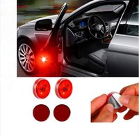 Wholesale car door anti collision - 2pcs Set Car LED Door Opening Warning Reflector Auto Strobe Traffic LED Emergency Light Car Door Lights Anti Collision Magnetic Control