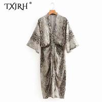 patrón sexy kimono al por mayor-TXJRH Sexy profundo con cuello en V estampado de serpiente estampado Kimono vestido pliegue drapeado en la parte delantera suelta manga Batwing vestido de longitud media Vestidos