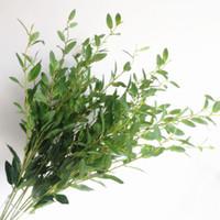 ingrosso pianta stelo-Olive Tree Branch Stem Artificiale Verde / Rosso Olivo Foglia 6 Steli / Pezza Verde vegetale Pianta Oliva