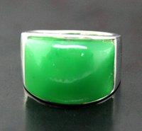 anillo de jade verde plata esterlina al por mayor-TIPO DE ANILLO 925 ANILLAS DE PLATA NATURAL JARDÍN VERDE VERDE 7/8/9/10