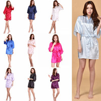 Wholesale large size wedding dress s for sale - 10 Styles Sexy Large Size Sexy Satin Night Robe Solid Lace Bathrobe Perfect Wedding Bride Brides Women Sleepwear Maternity Dresses AAA303