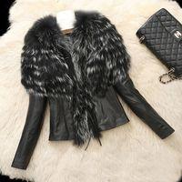 Wholesale Raccoon Leather Fur Coat - Plus size 3XL 4XL 5XL 6XL fake leather sheepskin coats jacket with faux raccoon fur female winter outwear for large size women