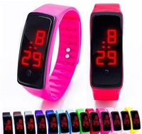 silicona electrónica relojes deportivos al por mayor-Reloj de pulsera LED de silicona de moda Led deportivo rectángulo pantalla táctil digital reloj dhl gratuito