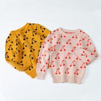 pamuk örme kazak modelleri toptan satış-2018 sonbahar kış sevimli bebek kız kazak kiraz desen örme üstleri çocuk giyim çocuk kız kazak triko giysileri