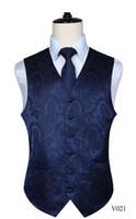 Wholesale vest tie set for sale - Group buy Men s Classic Paisley Vest Jacquard Waistcoat Vest Hankerchief Party Wedding Business Tie Slim Vests Suit Pocket Square Set Hot
