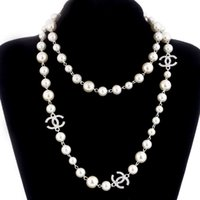 Wholesale pearl necklaces online - 2018 Korean Long Sweater Chain Colar Maxi Necklace Simulated Pearl Flowers Necklace Women Fashion Jewelry bijoux femme