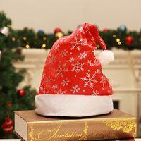 décorations en flocons de neige en or achat en gros de-Or Argent Flocon De Neige Impression 28 * 36cm Père Noël Chapeau De Noël Cosplay Chapeaux Décoration De Noël Chapeaux De Fête De Noël