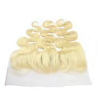 cierre de pelo virgen europeo al por mayor-613 Blonde Lace Frontal 13 * 4 lace Closure body wave European virgin hair 613 # Nueva llegada frontal del cordón del cabello humano