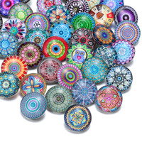 Wholesale invisible glasses resale online - 50pcs Mixed Beautiful Exotic Pattern Styles Charms mm Glass Snap Button For Diy Bracelet Snaps Jewelry Kzhm013