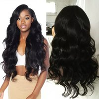 Wholesale super human hair wigs online - Virgin Hair Full Lace Wigs With Baby Hair Glueless Brazilian Virgin Super Body Wave Lace Front Human Hair Wig Bleached Knots