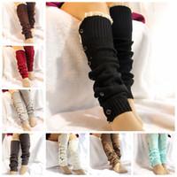 düğmeli çoraplar toptan satış-8 renkler Noel Dekorasyon Bacak çorap seti düğme diz over diz çizmeler çorap seti yünlü örgü ayak örtüsü Spor Çorap GGA854