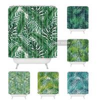 banyo duş tasarımları toptan satış-Sweetenlife Tropikal Duş Perde Polyester Kumaş Basit Banyo Perdesi Tasarımlar Yeşil Bitkiler Perdeleri Banyo Su Geçirmez 180 CM