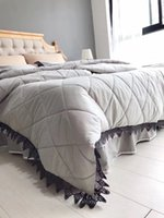 Wholesale solid gray comforter set online - quilting bed cover bedding set comforter pieces per set size for bed of m m m bed supply solid color and leaf lace decration