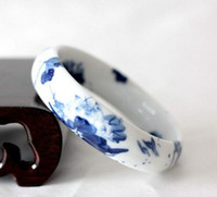 ingrosso braccialetto cinese di porcellana-Braccialetto di peonia retrò in stile folk cinese con bracciale in porcellana blu e bianca