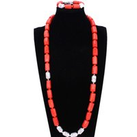 colar de coral laranja venda por atacado-4UJewelry Nigeriano Homens Natureza Original Coral Beads Set Jóias Para Casamentos Nigerianos Laranja Africano Bridal Necklace Bracelet