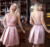 Wholesale Silver Bling Club Short Dress - 2018 Pink V neck Cheap Homecoming Party dress Lace A line Satin Hollow Bling Crystal Ribbon Short Prom Graduation Club Dresses Gowns