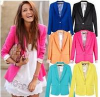 ingrosso blazer da donna in cotone-NUOVO 2017 primavera autunno giacca donna tuta pieghevole giacca di marca in cotone spandex signore rinfrescano blazer Candy Color