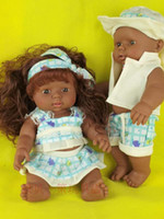 Wholesale Girls Clearance - Special clearance 28 cm Africa reborn baby doll plastic simulation chocolate boy and girl dolls