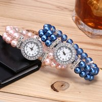 Wholesale fashion watch beads online - Fashion Pearl diamond bracelet Luxury watch Pearls beads women wedding bracelets student ladies quartz casual watches party gift