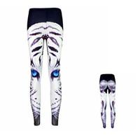 Wholesale women yoga pants white for sale - Women Leggings White Tiger Blue Eyes D Girl Skinny Stretchy Yoga Wear Pants Lady Runner Casual Soft Capris Trousers KKA5129