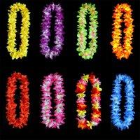 ingrosso collane di fiori artificiali-Ispessimento Ghirlanda Simulazione Artificiale Colore Fiore di Seta Fiori Artificiali Collana Hawaii Sandy Beach Tropic Party Decorare 2 45zc UU