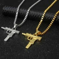 Wholesale Gun Charms Wholesale - Hip Hop Necklaces Engraved Gun Shape Uzi Golden Pendant High Quality Necklace Gold Chain Popular Fashion Pendant Jewelry 161849