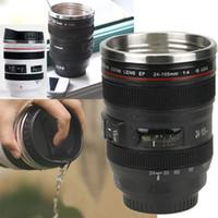 ingrosso rivestimento in acciaio inossidabile-Camera Lens Cup 400ml tazza di caffè in acciaio inox Liner Tea Cup 5 generazione della chiavetta tazza di corsa SLR Lens Bottiglia Novelty Gifts HH-C23