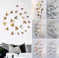 3d kelebek dekor toptan satış-3D Hollow Kelebek Sanat Duvar Çıkartmaları Yatak Odası Oturma Odası Ev Dekor Çocuklar DIY Dekorasyon 12 adet / takım OOA4194