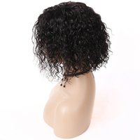 yapışkan olmayan peruk bakire kıvırcık toptan satış-Kıvırcık Dantel Ön Peruk Brezilyalı Virgin İnsan Saç Tutkalsız Kısa Bob İnsan Saç Peruk Siyah Kadınlar Için Bebek Saçlı Dalgalı Dantel Peruk