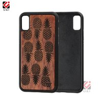 Wholesale Hard I Phone Cases - Mad pineapple design hard mobile cell phone case for iPhone x, luxury wooden hybrid Capa hard cellphone back cover for i Phone 10