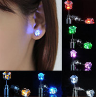 Wholesale Light Up Earrings Wholesale - 1pair Hot Sale Cool Light Up LED Light Ear Studs Shinning Earrings For Bar Unisex Fashion Jewelry Gift for women ladies girl Gifts