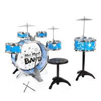 2b6a822eb Children Drums Kit Musical Instrument Toy with Cymbals Stool Christmas  Birthday Gift Cymbal Stool Drumsticks Set Musical Instruments Play