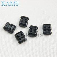 Wholesale Rope Stopper - Wholesale-50pcs pack Plastic Rope Clamp Cord Lock Stopper Cordlocks Toggle 2 Hole 4mm Black For Paracord & Shoe Lace